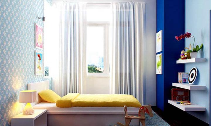 Rèm cửa và sơn tường có màu bổ sung