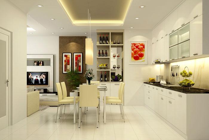 Thiết kế phòng bếp màu sắc rõ nét