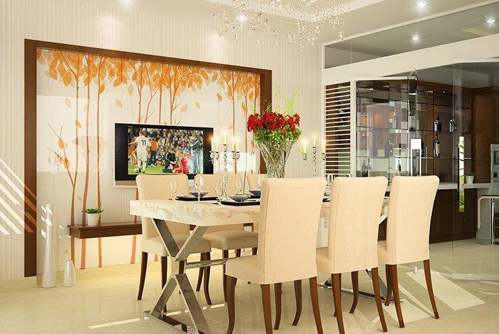 Trang trí phòng ăn hẹp